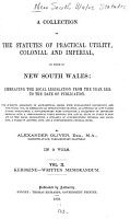 A Collection of the Statutes of Practical Utility  Colonial and Imperial  in Force in New South Wales PDF