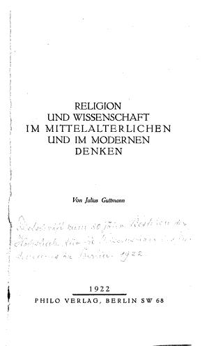Religion und Wissenschaft im mittelalterlichen und im modernen Denken PDF