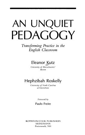 An Unquiet Pedagogy PDF