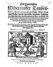 Christoph Andreae Fischer Der Hutterischen Widertauffer Taubenkobel