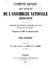 Compte rendu des séances de l'Assemblée nationale: Volume5