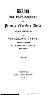 Errori nei Prolegomeni del Primato morale e civile degli Italiani di V. Gioberti