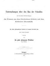 Untersuchungen über den bau der Crinoiden, mit besonderer berücksichtigung der formen aus dem Solenhofener schiefer und dem Kelheimer diceraskalk ...