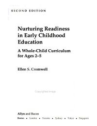 Nurturing Readiness in Early Childhood Education PDF