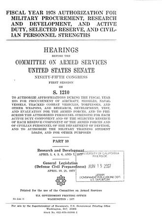 Fiscal year 1978 authorization for military procurement  research and development  and active duty  selected reserve  and civilian personnel strengths PDF