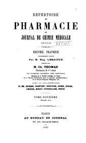 Répertoire de pharmacie: Volume12