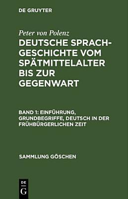 Einf  hrung  Grundbegriffe  Deutsch in der fr  hb  rgerlichen Zeit PDF