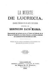 La muerte de Lucrecia: Cuadro trágico en un acto y en verso