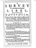 A Survey of the Insolent and Infamous Libel  by Sir James Stewart and James Stirling   entituled  Naphtali   c  Wherein several things  falling in debate in these times are considered  etc   By Andrew Honyman   PDF