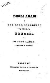 Degli arabi e del loro soggiorno in Sicilia memoria di Pietro Lanza principe di Scordia