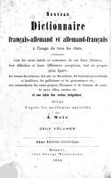 Nouveau Dictionnaire Fran  ais Allemand et Allemand Fran  ais PDF