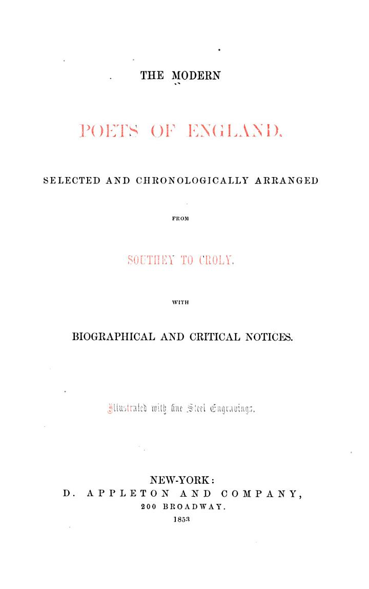 The Modern Poets of England