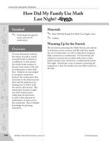 Guided Math Stretch  Real Life Math  How Did My Family Use Math Last Night  PDF