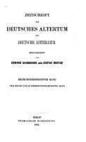 Zeitschrift f  r deutsches Alterthum und deutsche Litteratur PDF
