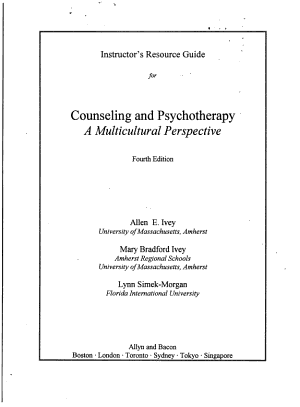 Counseling and Psychotherapy PDF