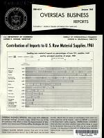 Contribution of Imports to U.S. Raw Material Supplies, 1961