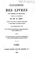 Catalogue des livres tant imprim  s que manuscrits  composant la biblioth  que de feu M  Roisy PDF