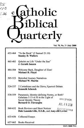The Catholic Biblical Quarterly PDF