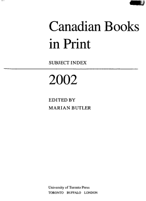 Canadian Books in Print