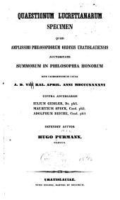 Quaestionum Lucretianarum ...: scripsit Hugo Purmann ...