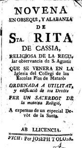 Novena en obsequi y alabanza de Sta. Rita de Cassia, religiosa de la regular observancia de S. Agustin ...