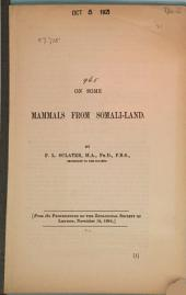 On Some Mammals from Somali-Land: Received Nov. 12, 1884