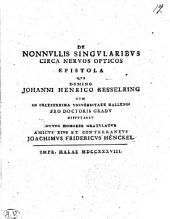 De Nonnullis Singularibus Circa Nervos Opticos Epistola
