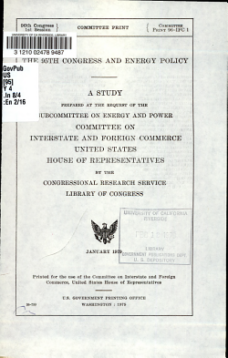 The 95th Congress and Energy Policy PDF