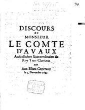 Discours de Mr. le Comte d'Avaux fait aux Estats Generaux