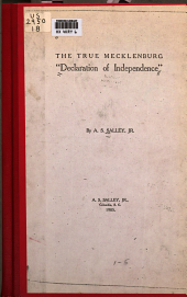 "The True Mecklenburg ""declaration of Independence"""