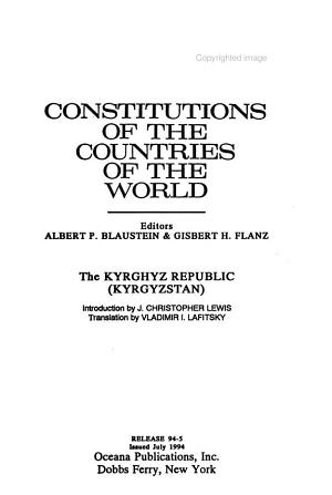 Constitutions of the Countries of the World PDF