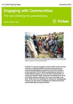 Engaging with Communities: The next challenge for peacekeeping