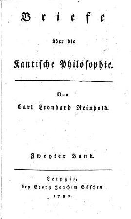 Briefe   ber die Kantische Philosophie PDF