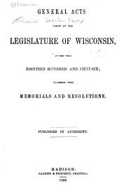 Wisconsin Session Laws: Volume 1856