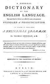 A General Dictionary Of The English Language  Etc  A Facsimile Of The Edition Of 1780