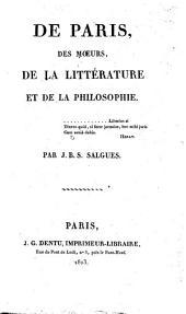 De Paris, des mœurs, de la littérature, et de la philosophie