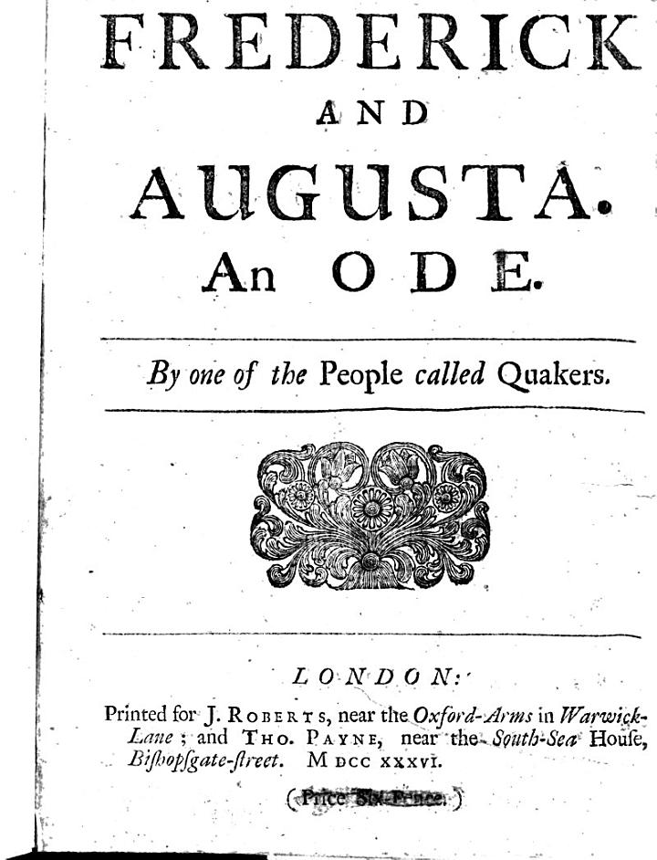 Frederick and Augusta, an ode by one of the people called Quakers