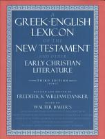 A Greek English Lexicon of the New Testament and Other Early Christian Literature PDF