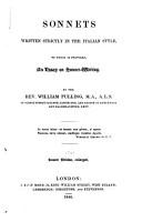 Sonnets Written Strictly in the Italian Style PDF