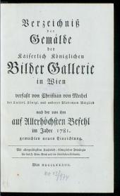 Verzeichnis der Gemälde der k.k. Bildergallerie in Wien