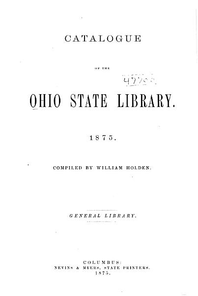 Download Catalogue of the Ohio State Library Book