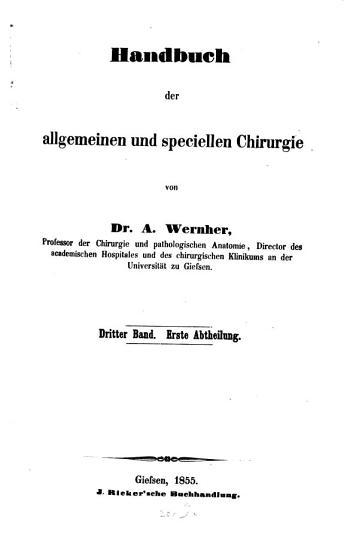 Handbuch der allgemeinen und speciellen Chirurgie PDF