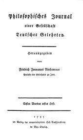 Philosophisches Journal: einer Gesellschaft Teutscher Gelehrten