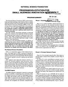 NSF Program Solicitation PDF