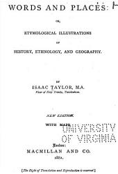 Words and Places: Or, Etymological Illustrations of History, Ethnology and Geography