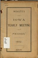 Minutes of the Iowa Yearly Meeting of Friends PDF
