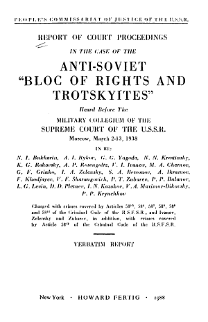Report of Court Proceedings in the Case of the Anti-Soviet