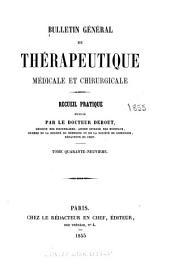 Bulletin général de thérapeutique: Volume49
