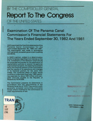 Examination of the Panama Canal Commission s Financial Statements for the Years Ended September 30  1982 and 1981 PDF