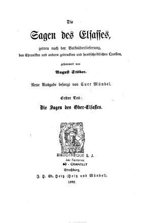 Die Sagen des Elsasses PDF